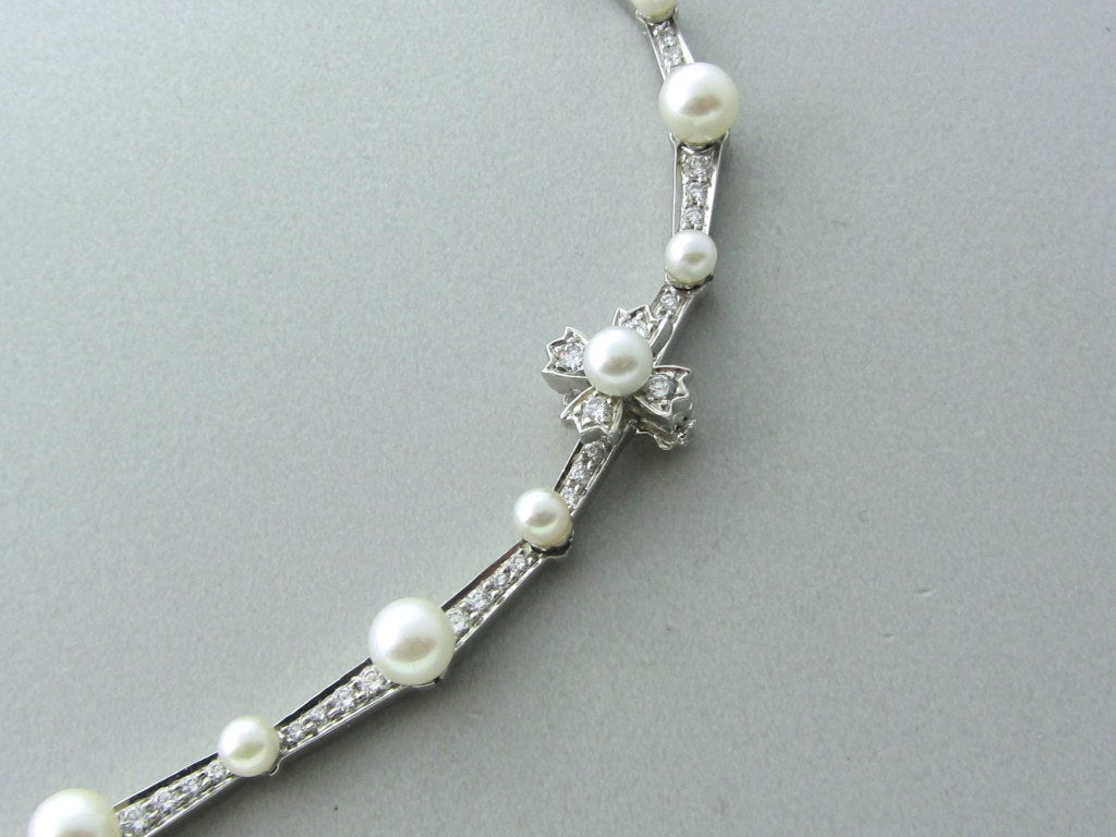 Women's Tiffany & Co Diamond Platinum Pearl Necklace For Sale