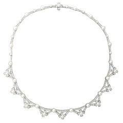 Tiffany & Co Diamond Platinum Pearl Necklace
