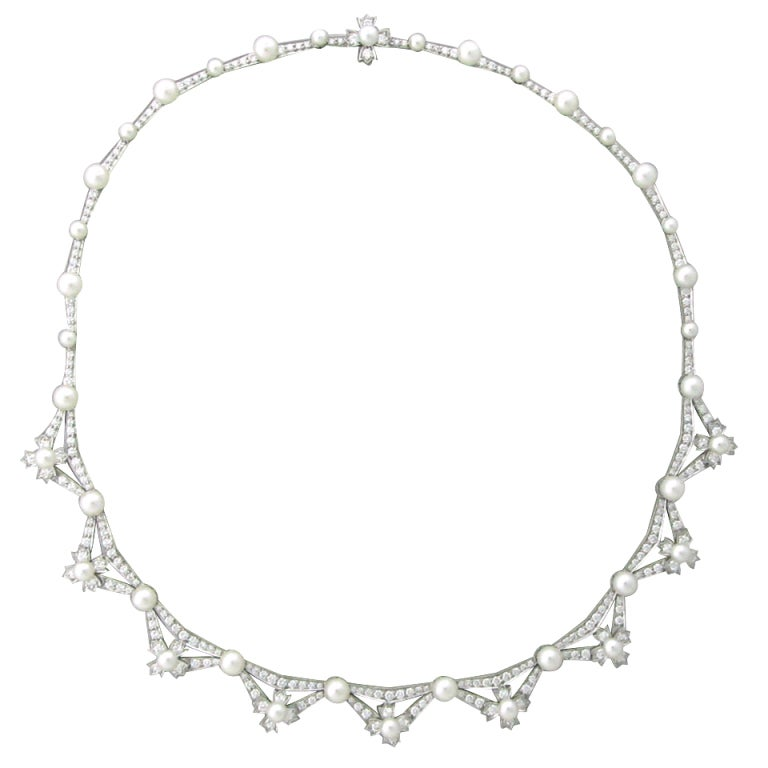 Tiffany & Co Diamond Platinum Pearl Necklace For Sale