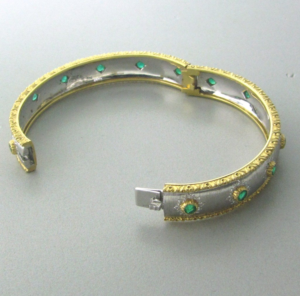 Buccellati 18K Yellow White Gold Emerald Bangle Bracelet !! 18K Yellow And White Gold Gemstones/Diamonds:Emeralds Measurements:Bracelet Will Comfortably Fit Up To 6 3/4