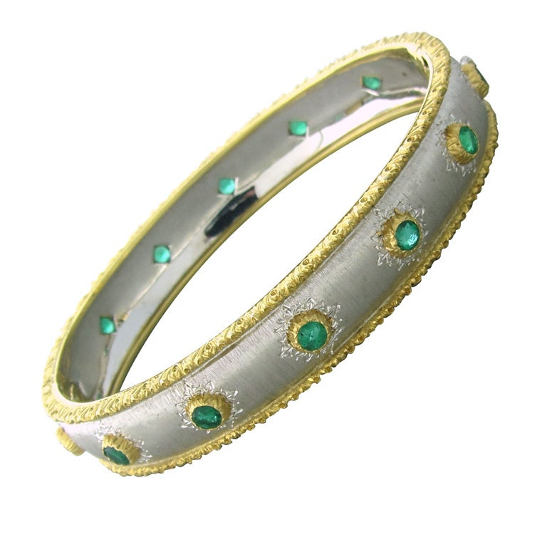 Buccellati Gold Emerald Bangle Bracelet For Sale