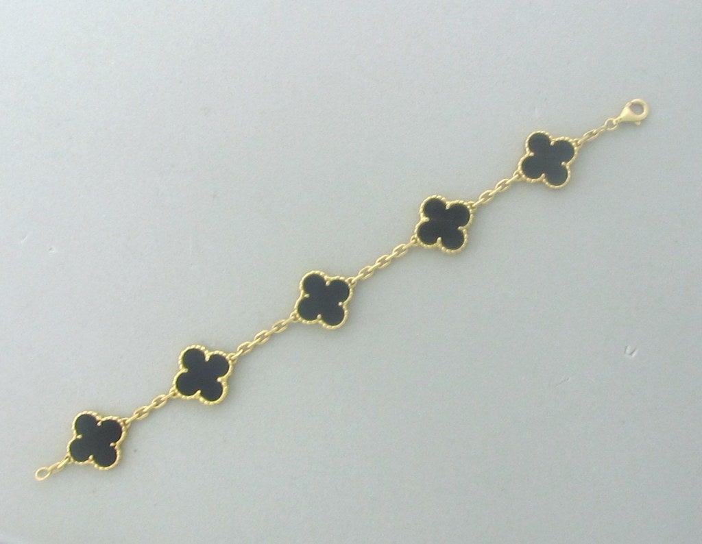 Van Cleef & Arpels Vintage Alhambra Gold Onyx Bracelet 2