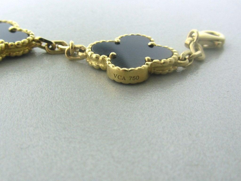 Van Cleef & Arpels Vintage Alhambra Gold Onyx Bracelet 3