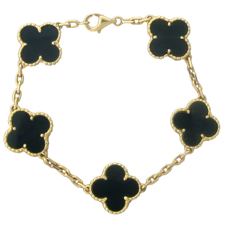 Van Cleef & Arpels Vintage Alhambra Gold Onyx Bracelet 1