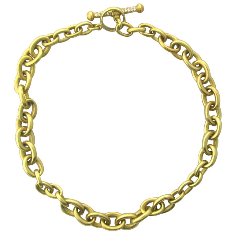 Kieselstein Cord Gold Diamond Toggle Necklace