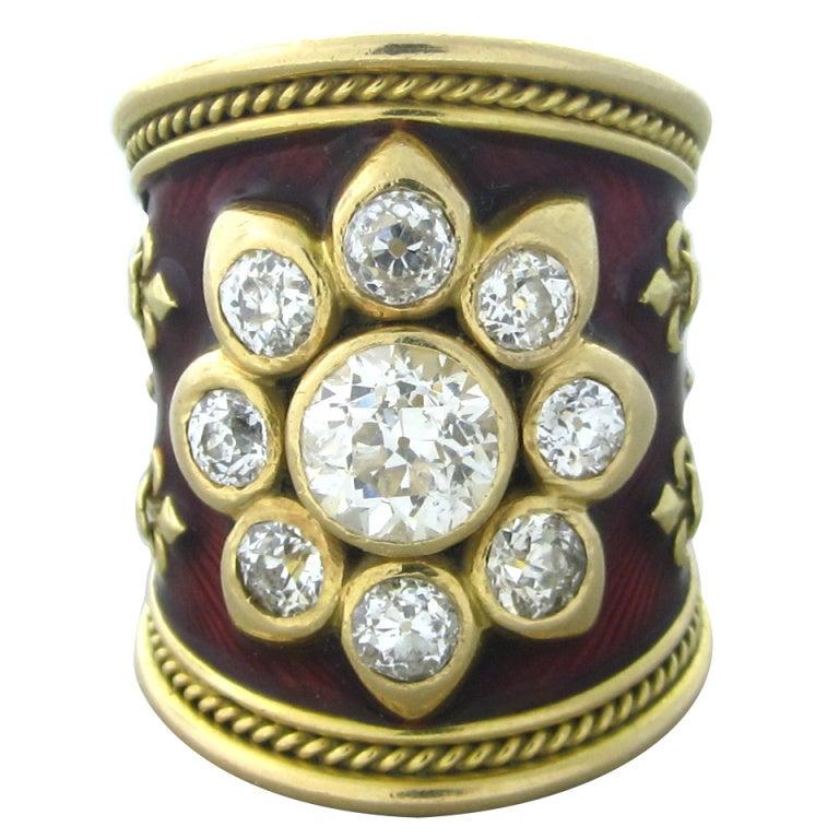 elizabeth gage gold enamel ring