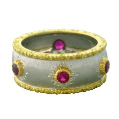 Buccellati Capri Gold Ruby Ring Band