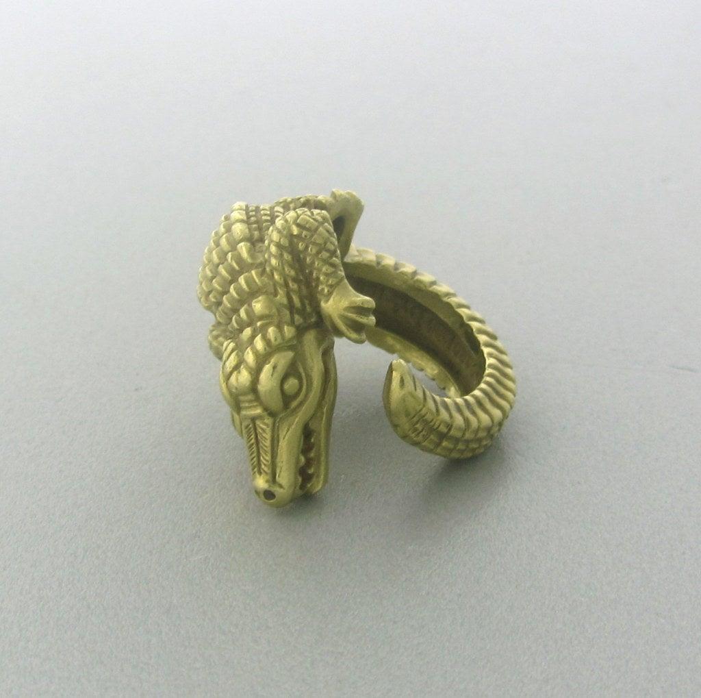 Kieselstein Cord Gold Alligator Ring at 1stdibs