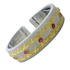 M. Buccellati Gold Ruby Cuff Bracelet