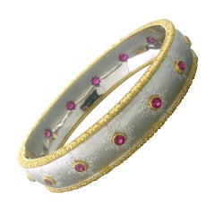 Buccellati Gold Ruby Bangle Bracelet
