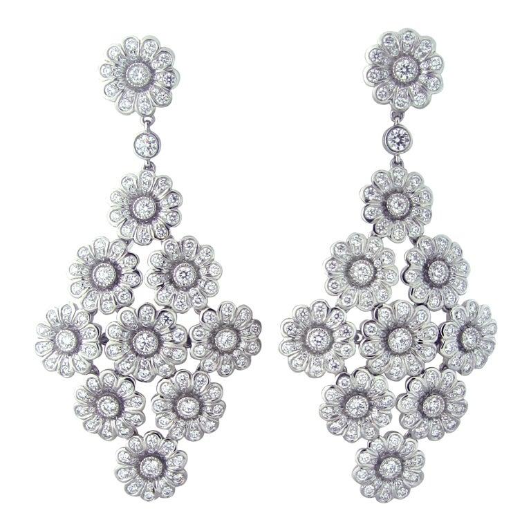 Tiffany & Co Platinum 3.05ctw Diamond Drop Earrings