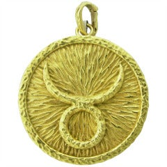 David Webb Gold Taurus Zodiac Enhancer Pendant