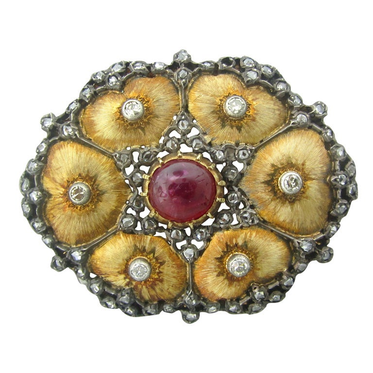 Buccellati Gold Diamond Ruby Brooch Pin