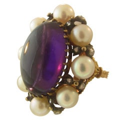 Buccellati Amethyst Pearl Diamond Gold Ring