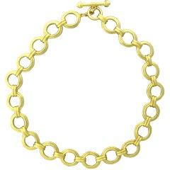 Elizabeth Locke Gold Link Toggle Necklace