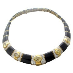 David Webb Gold Platinum Diamond Sapphire Enamel Necklace