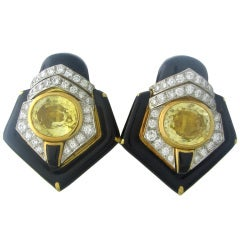 David Webb Gold Platinum Diamond Sapphire Enamel Earrings