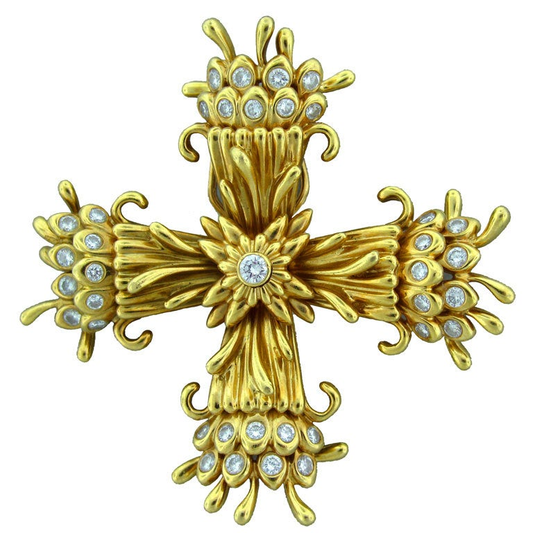 Tiffany and co schlumberger maltese cross brooch pin clip at 1stdibs