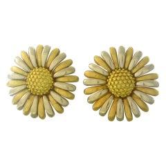 Asprey London Gold Daisy Flower Earrings