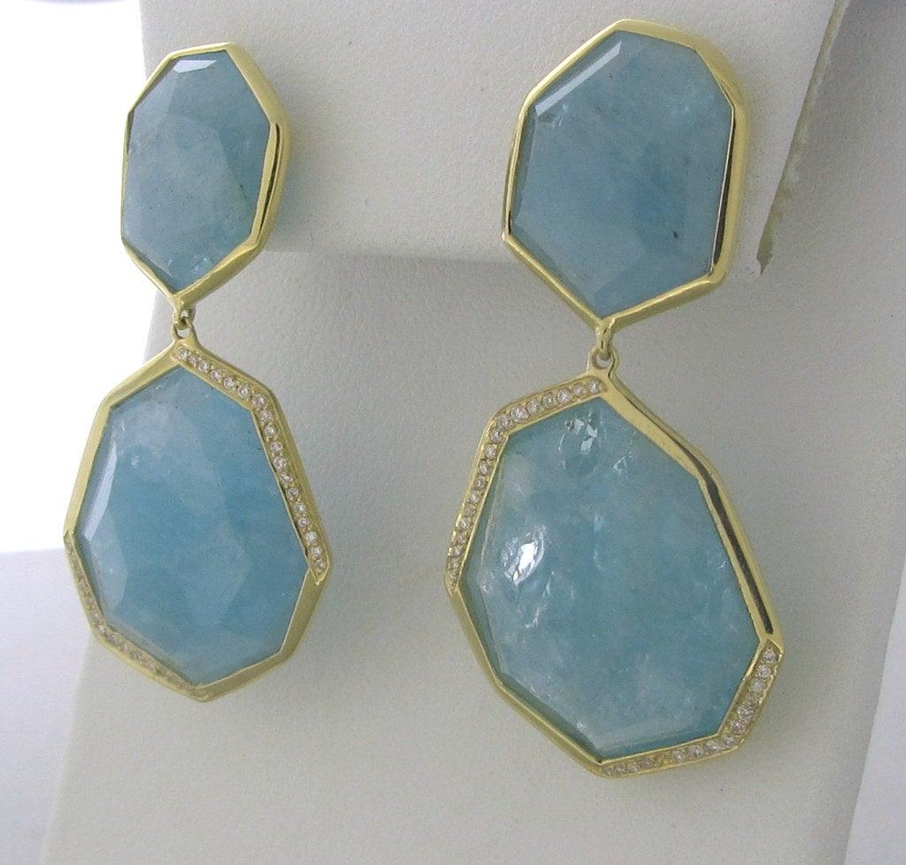 Ippolita Gold Diamond Aquamarine Rock Candy Earrings 3