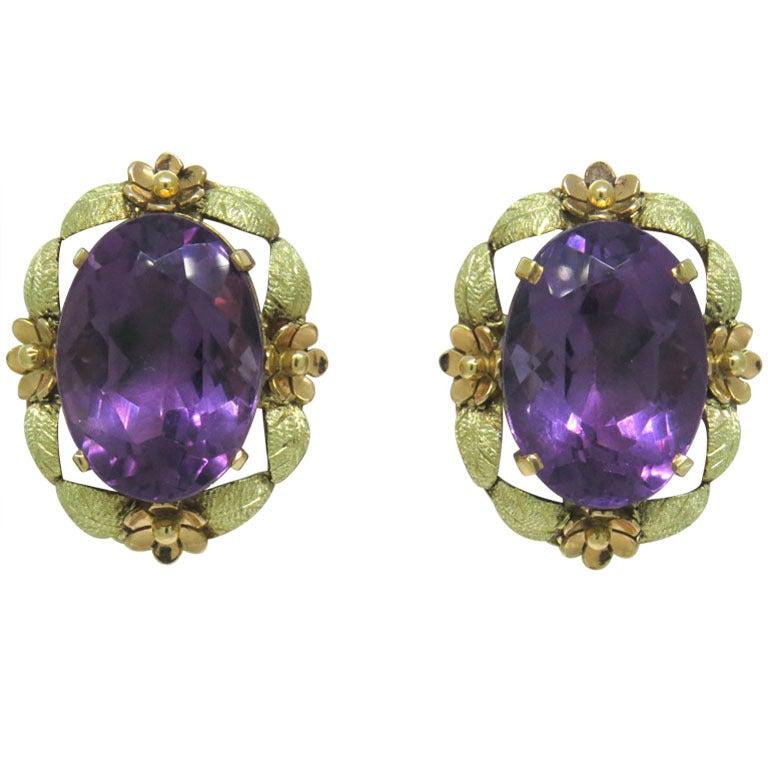 gold amethyst earrings at 1stdibs