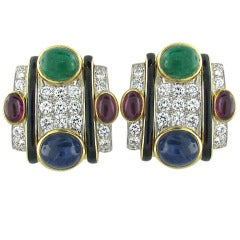 David Webb Gold Platinum Gemstone Diamond Earrings