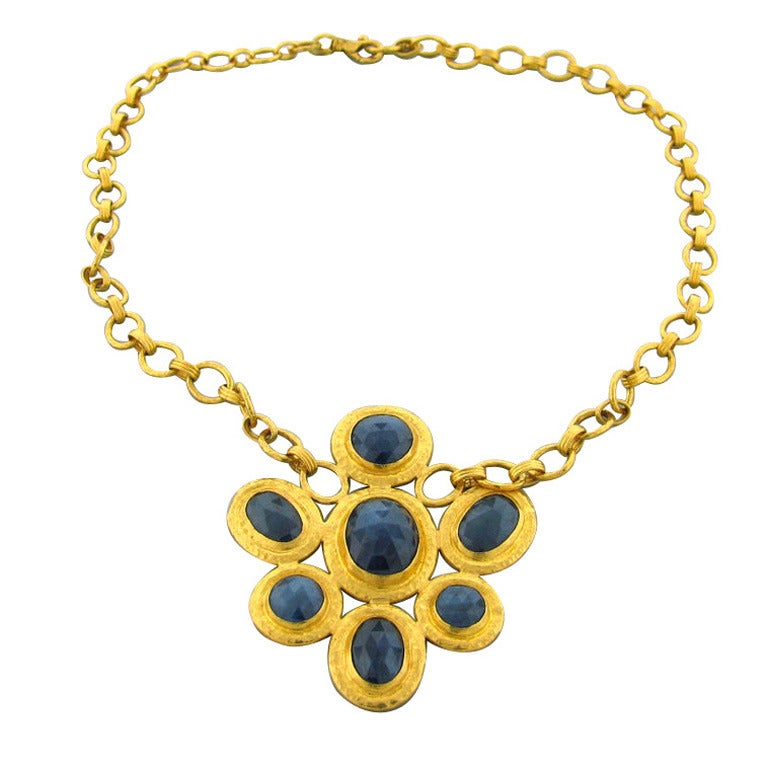 guhran jewelry gurhan gold sapphire pendant necklace at 1stdibs 1122