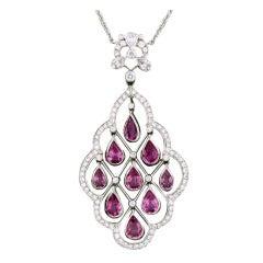 Tiffany & Co Platinum Sapphire Diamond Pendant Necklace