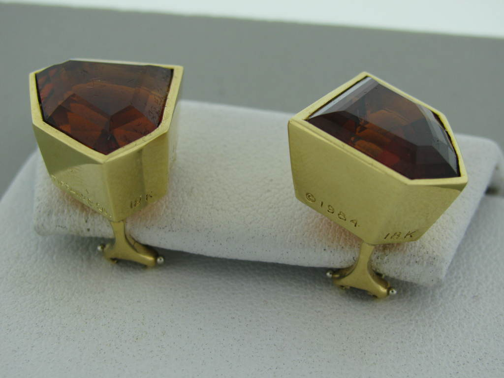 TIFFANY & CO Paloma Picasso Vintage Gold Citrine Earrings 2
