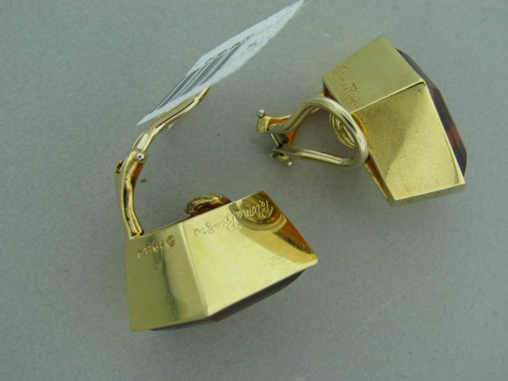 TIFFANY & CO Paloma Picasso Vintage Gold Citrine Earrings 3