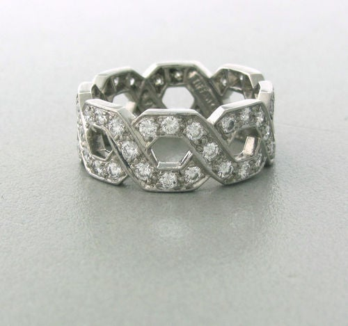 Metal Platinum Gemstones/diamonds Diamonds - Approx. 2.10ctw Measurements Ring Size - 5.75mm, 8mm Wide (inch=25mm) Marked/tested Tiffany & Co, Pt950 Clarity VS Color G Weight 7.7 G