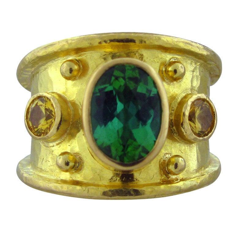 Elizabeth Locke Gold Yellow Sapphire Green Tourmaline Ring