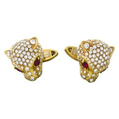 Gold Diamond Ruby Panther Cufflinks