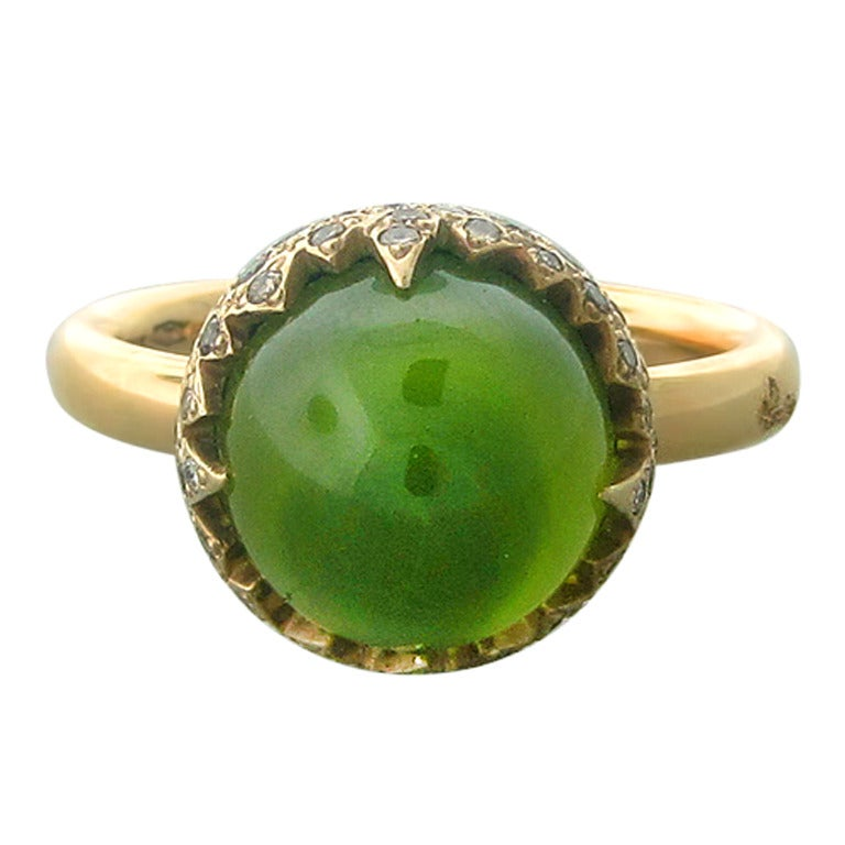 Pomellato Gold Peridot Diamond Ring