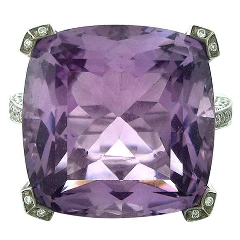 Asprey Amethyst Diamond Gold Ring