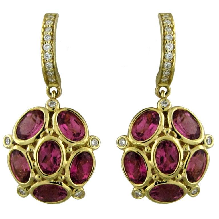 Temple St Clair Gold Tourmaline Diamond Earrings At 1stdibs