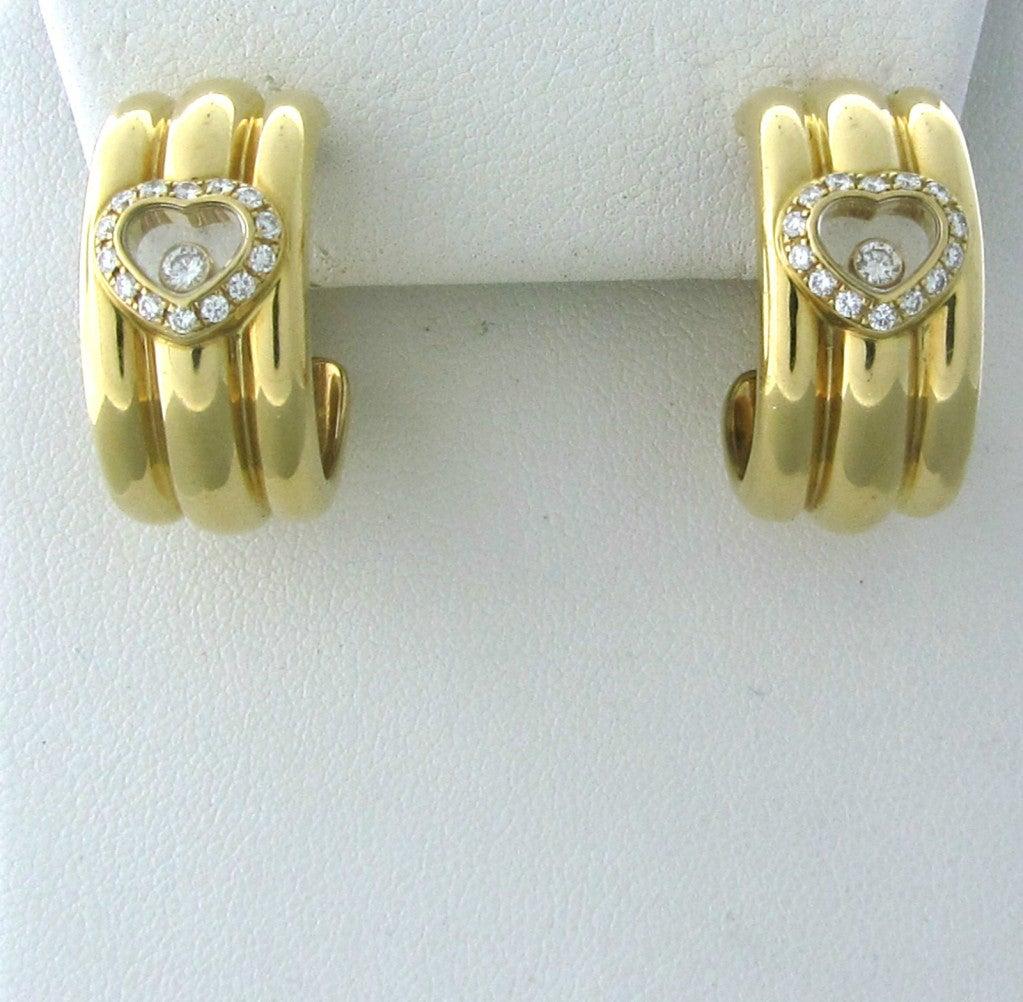 Chopard Happy Diamonds Diamond Gold Earrings 2