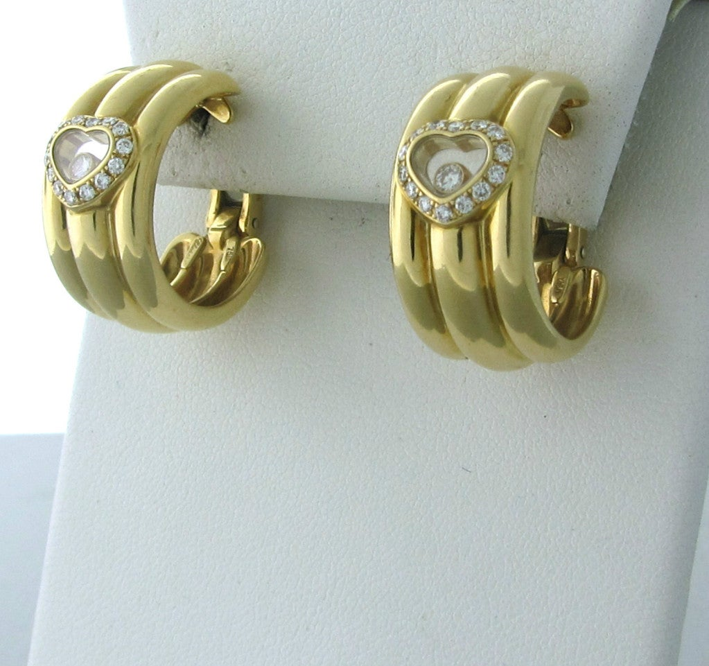 Chopard Happy Diamonds Diamond Gold Earrings In Excellent Condition For Sale In Lahaska, PA