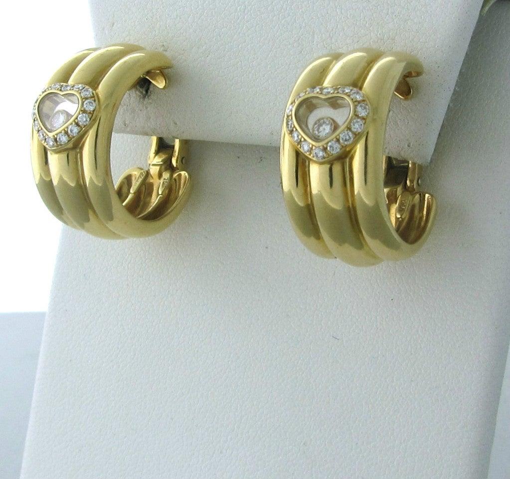Chopard Happy Diamonds Diamond Gold Earrings 3
