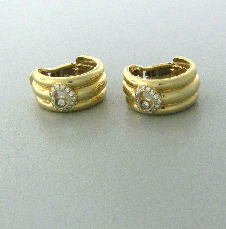 Women's Chopard Happy Diamonds Diamond Gold Earrings For Sale