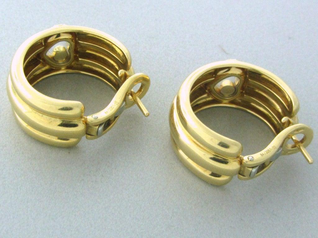 Chopard Happy Diamonds Diamond Gold Earrings For Sale 1
