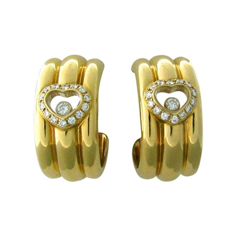 Chopard Happy Diamonds Diamond Gold Earrings For Sale