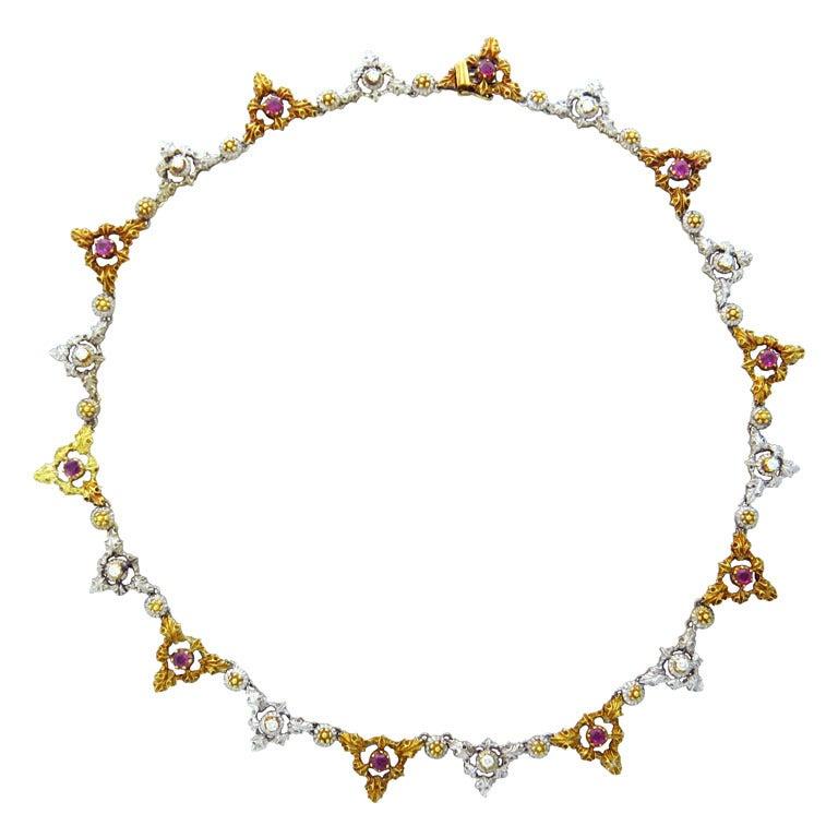 Mario Buccellati Gold Diamond Ruby Necklace