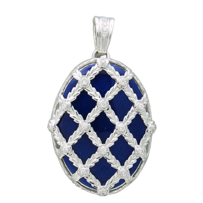 Gold Diamond Enamel Locket Pendant