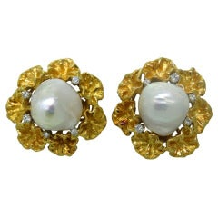 Spritzer & Fuhrmann Gold Diamond Pearl Earrings