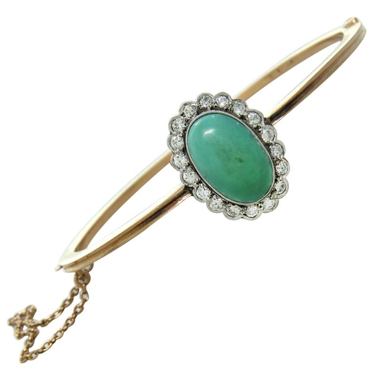 Antique Gold Diamond Turquoise Bangle Bracelet At 1stdibs