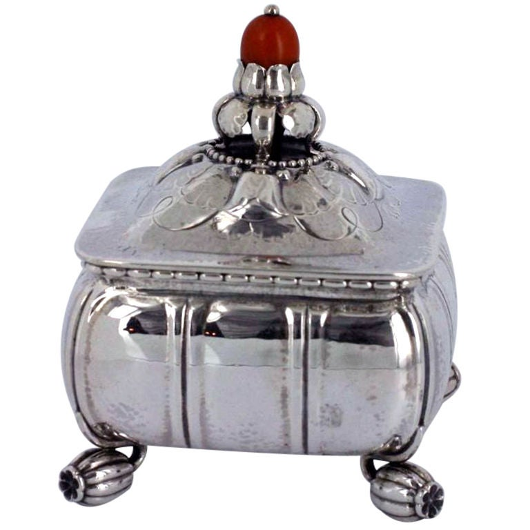 georg jensen sterling silver box no 30b with red amber bead at 1stdibs. Black Bedroom Furniture Sets. Home Design Ideas