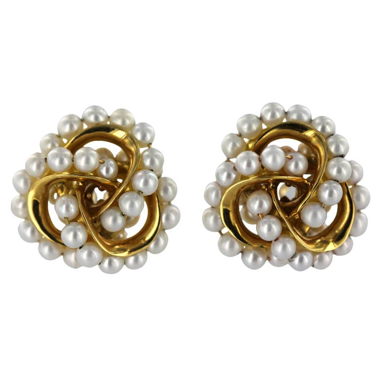 seaman schepps gold and pearl earrings at 1stdibs