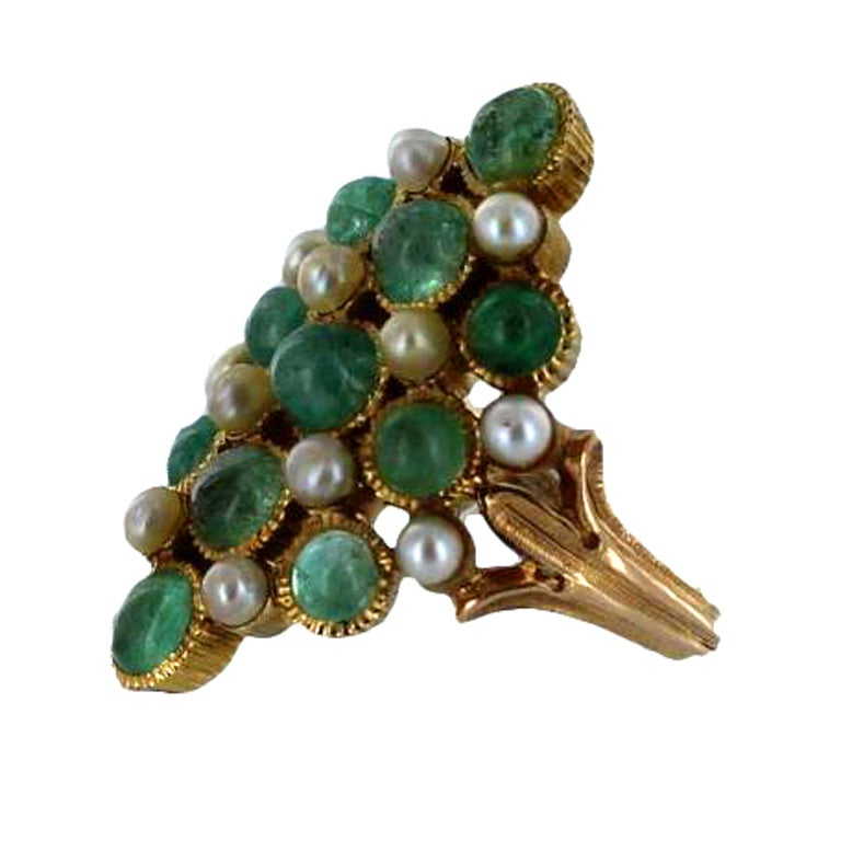buccellati gold emerald and pearl ring at 1stdibs