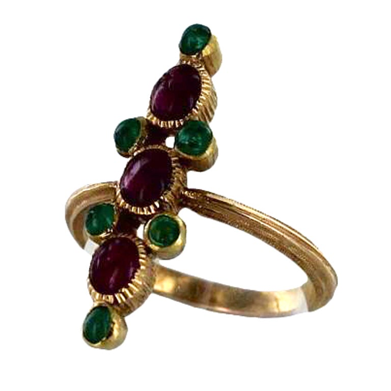 buccellati gold emerald and ruby ring at 1stdibs